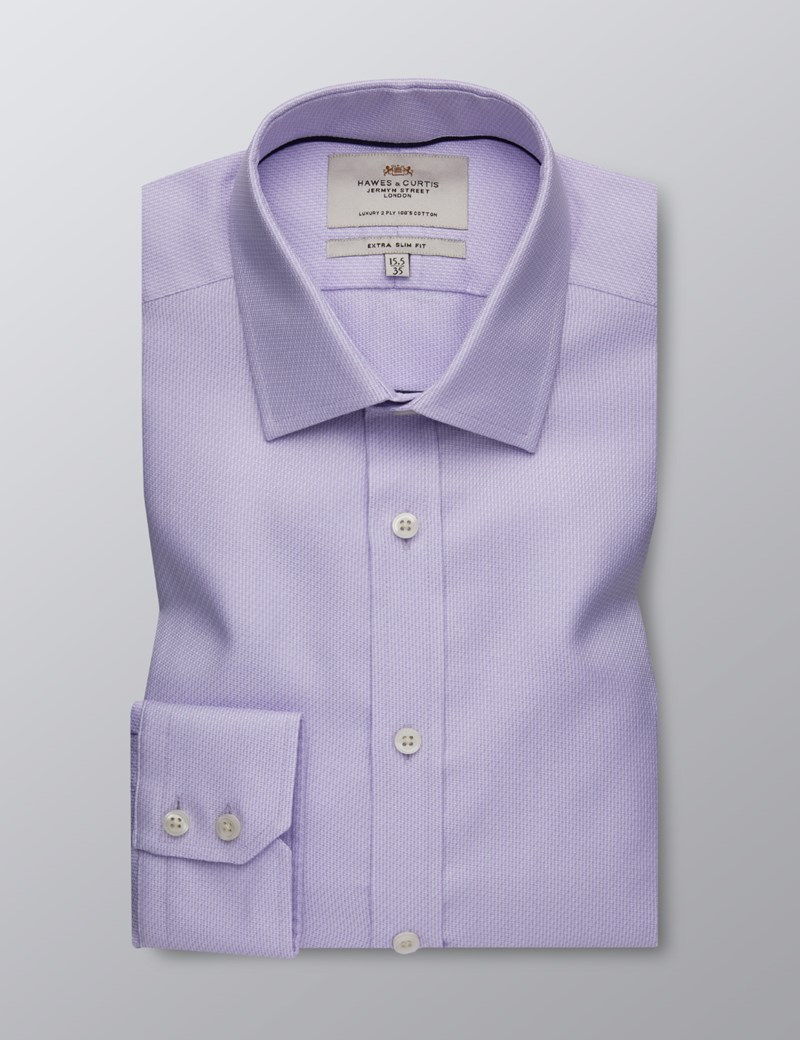 Men's Formal Lilac Fabric Interest Extra Slim Fit Shirt - Single Cuff - Easy Iron