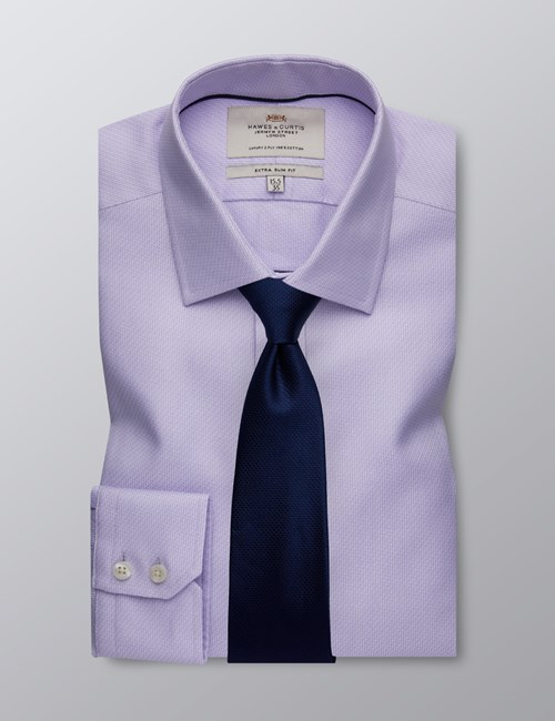 Men's Dress Lilac Fabric Interest Extra Slim Fit Shirt - Single Cuff - Easy Iron