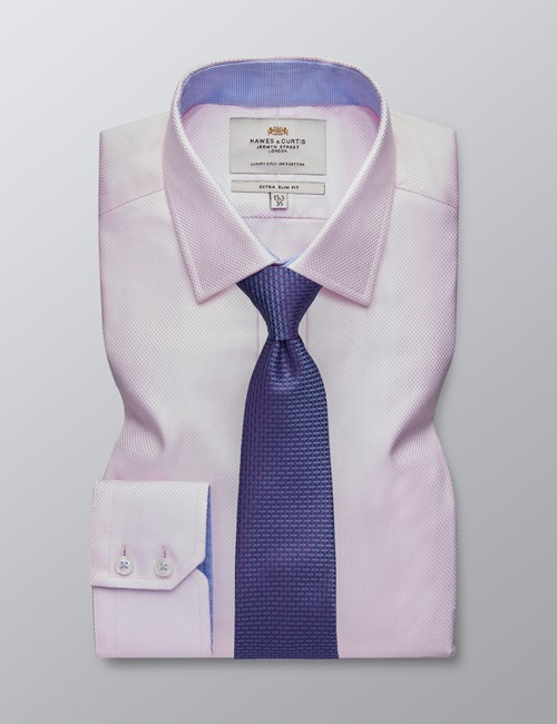 Men's Formal Light Pink Dobby Extra Slim Fit Shirt - Single Cuff - Easy Iron