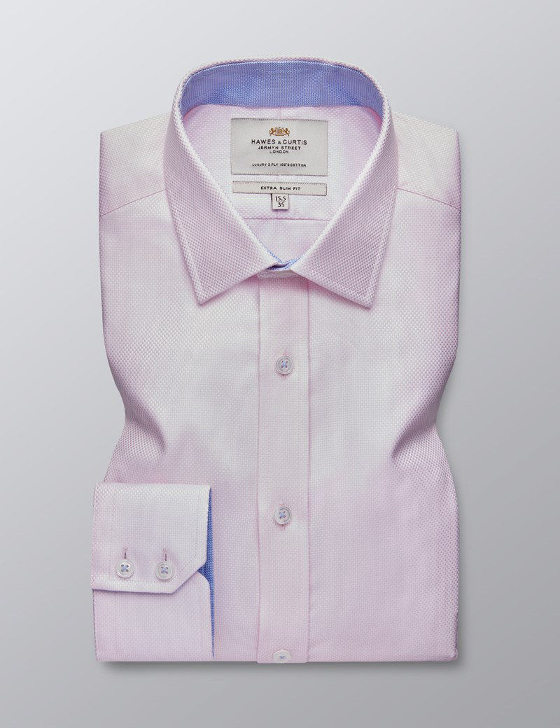 Men's Dress Light Pink Dobby Extra Slim Fit Shirt - Single Cuff - Easy Iron