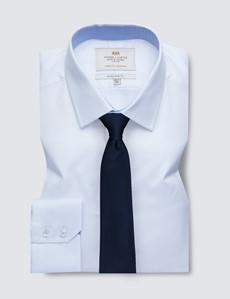Easy Iron White Pique Extra Slim Fit Shirt with Contrast Detail