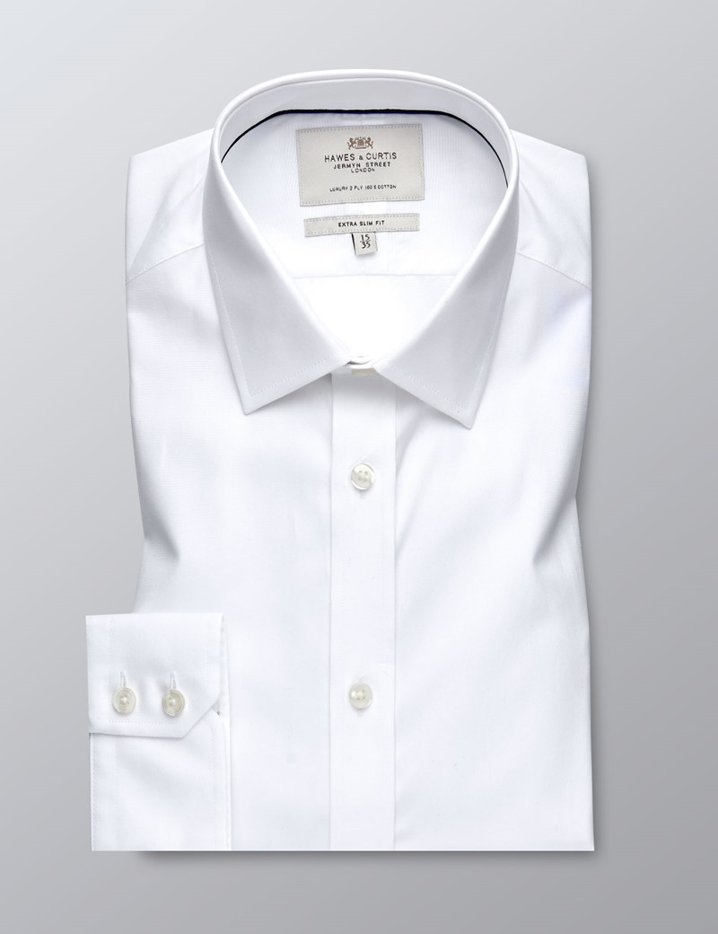 Men's Formal White Poplin Extra Slim Fit Shirt - Single Cuff - Easy Iron