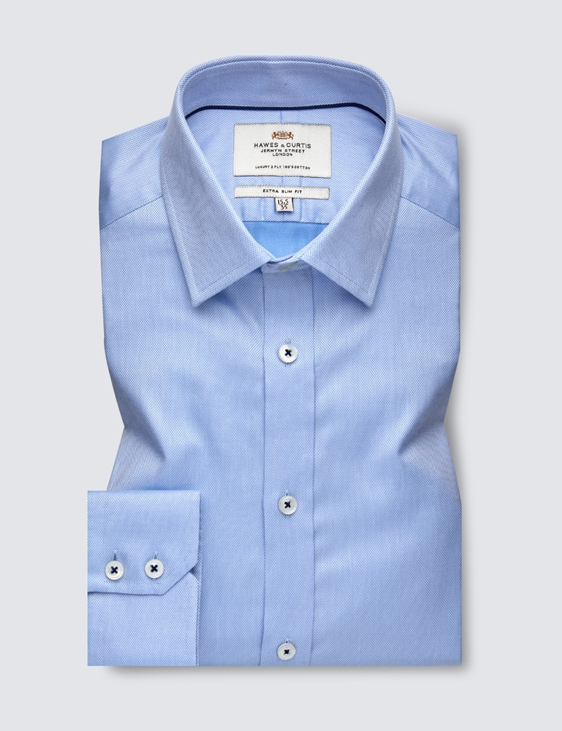 Men's Formal Blue Pique Extra Slim Fit Shirt - Single Cuff - Easy Iron