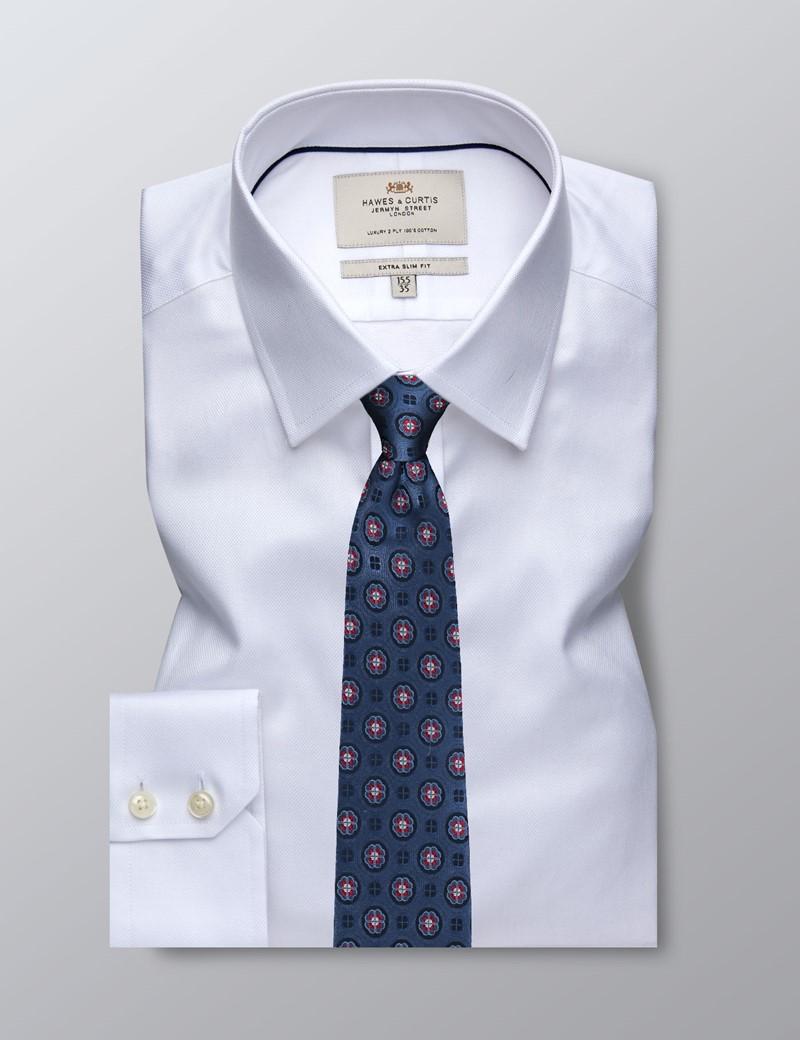 Businesshemd – Extra Slim Fit – Kentkragen – Piqué weiß