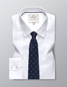 Men's Formal White Pique Extra Slim Fit Shirt - Single Cuff - Easy Iron