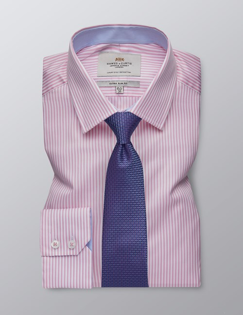 Men's Formal Pink & White Bengal Stripe Extra Slim Fit Shirt - Single Cuff - Easy Iron