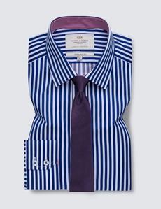Easy Iron Royal & White Bold Stripe Extra Slim Fit Shirt - Semi Cutaway Collar