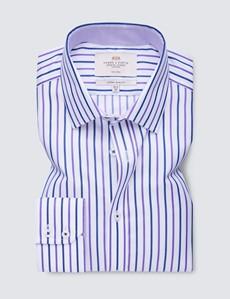 Men's Business Navy & Purple Stripe Extra Slim Fit Shirt  - Single Cuff - Non Iron