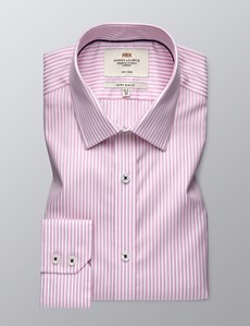 Men's Business Pink & White Bengal Stripe Extra Slim Fit Shirt - Single Cuff - Non Iron