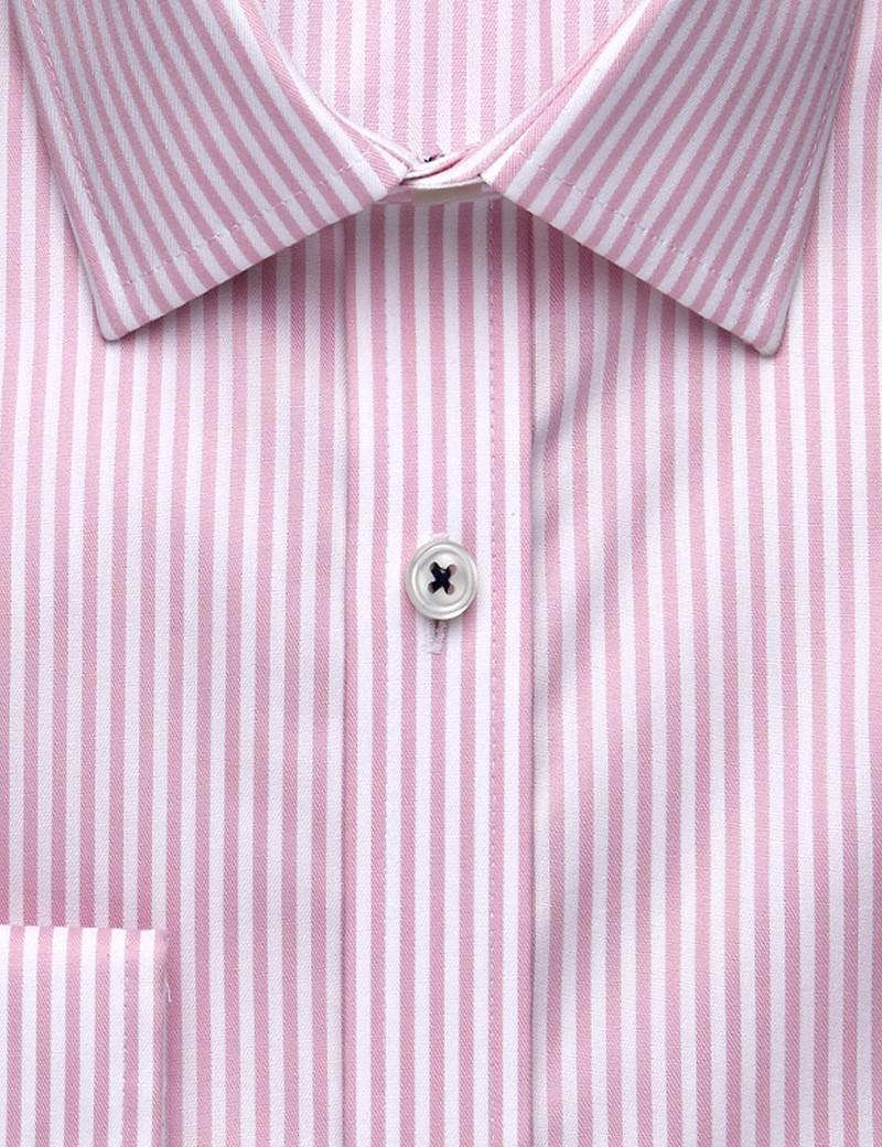 Bügelfreies Businesshemd – Extra Slim Fit – Kentkragen - Streifen weiß & rosa