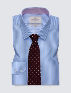 Men's Dress Blue & White Bengal Stripe Extra Slim Fit Shirt with Contrast Detail - Single Cuff - Non Iron