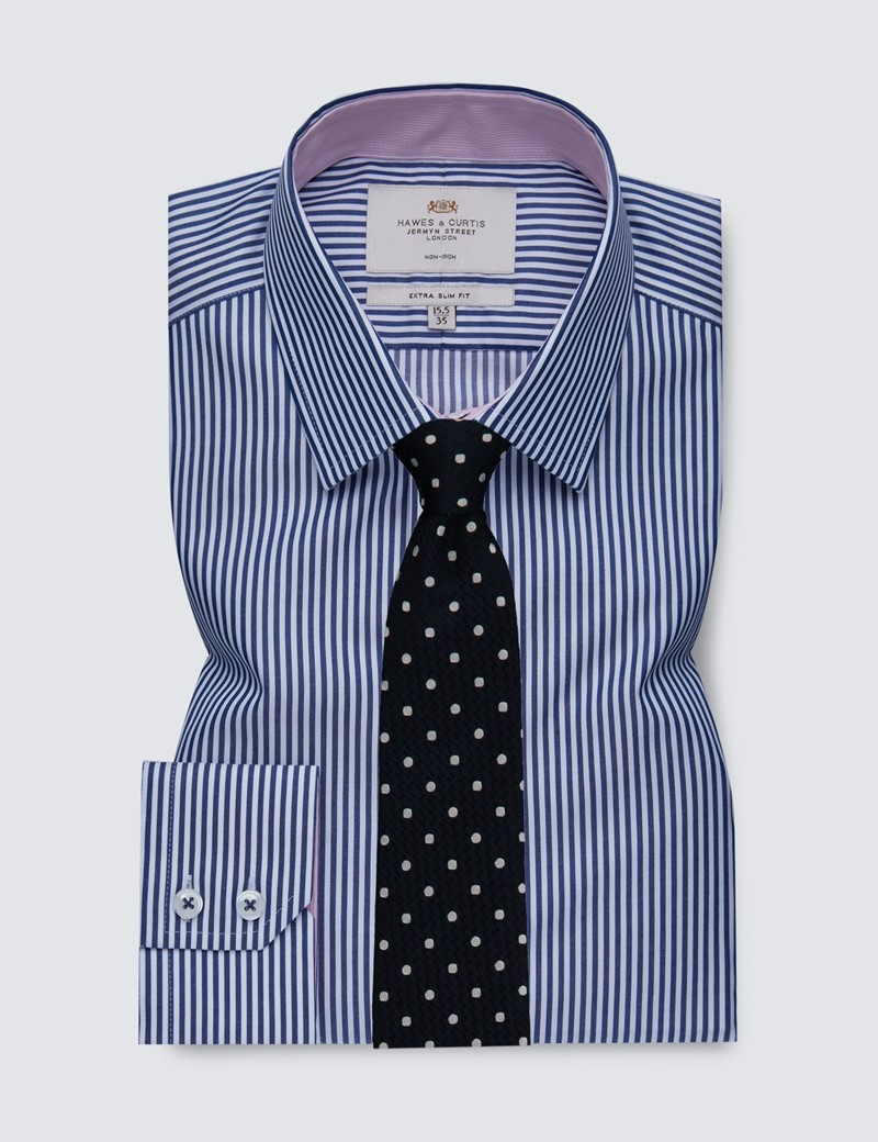 Men's Formal Navy & White Bengal Stripe Extra Slim Fit Shirt with Contrast Detail - Single Cuff - Non Iron