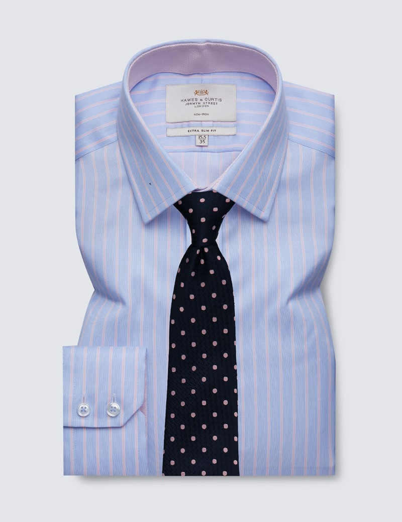Men's Formal Blue & Pink Multi Stripe Extra Slim Fit Shirt with Contrast Detail - Single Cuff - Non Iron