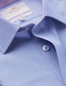 Easy Iron Blue & White Fine Stripe Extra Slim Fit Shirt - Semi Cutaway Collar
