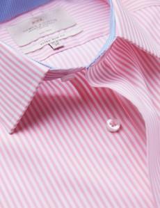 Non Iron Pink & White Bengal Stripe Extra Slim Fit Shirt - Semi Cutaway Collar