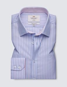 Non Iron Blue & Pink Multi Stripe Extra Slim Fit Shirt - Semi Cutaway Collar