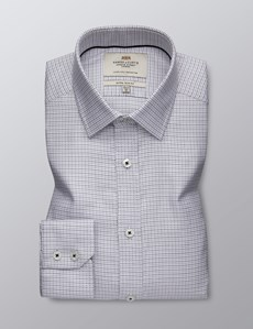 Men's Dress Grey Dobby Extra Slim Fit Shirt - Single Cuff  - Easy Iron