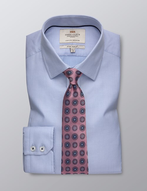 Men's Formal Blue Dobby Extra Slim Fit Shirt - Single Cuff  - Easy Iron