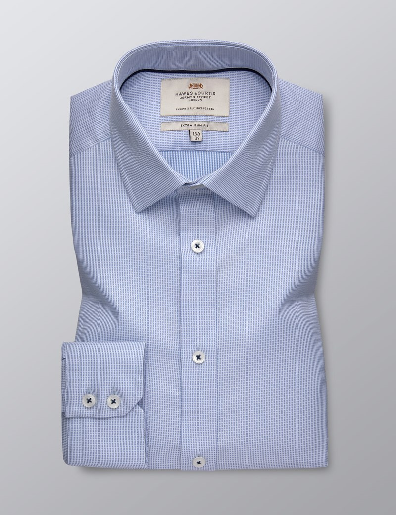 Men's Dress Blue Dobby Extra Slim Fit Shirt - Single Cuff  - Easy Iron