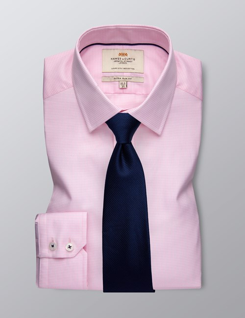 Men's Dress Pink Dobby Extra Slim Fit Shirt - Single Cuff  - Easy Iron