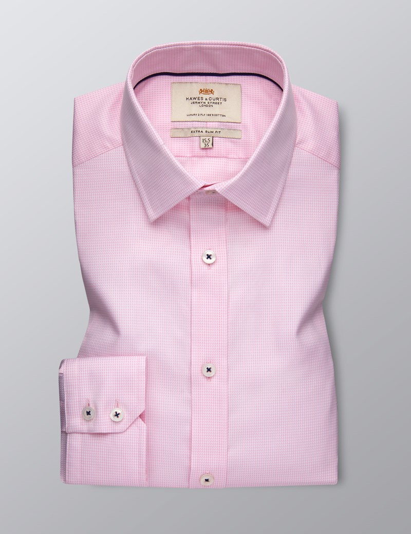 Men's Dress Pink Dobby Extra Slim Fit Shirt - Single Cuff  - Easy Iron