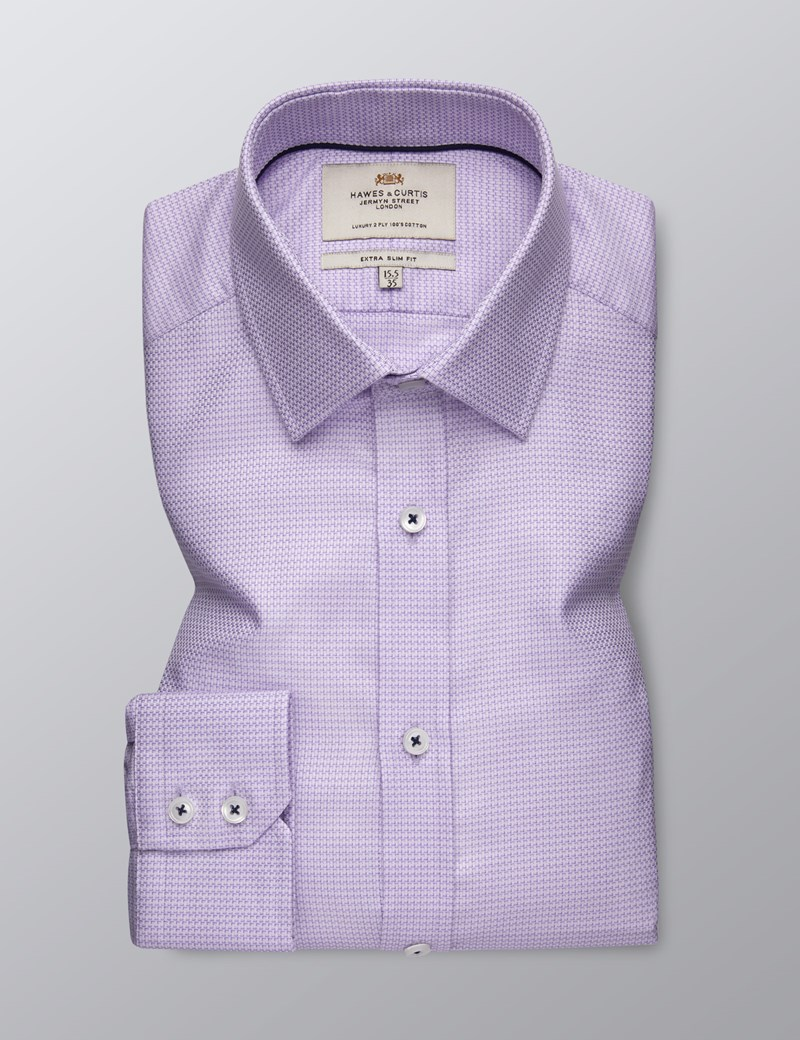 Men's Dress Lilac Extra Slim Fit Shirt - Single Cuff - Easy Iron