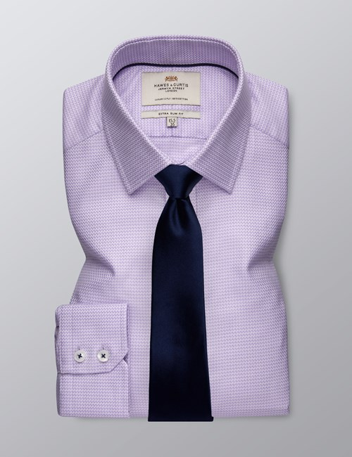 Men's Dress Lilac Extra Slim Fit Shirt - Single Cuff - Easy Iron