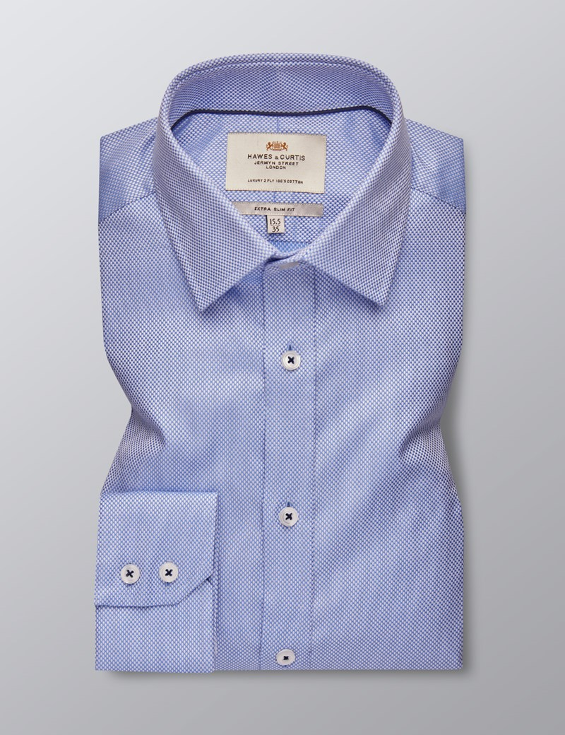 Men's Dress Blue & White Dobby Extra Slim Fit Shirt - Single Cuff - Easy Iron