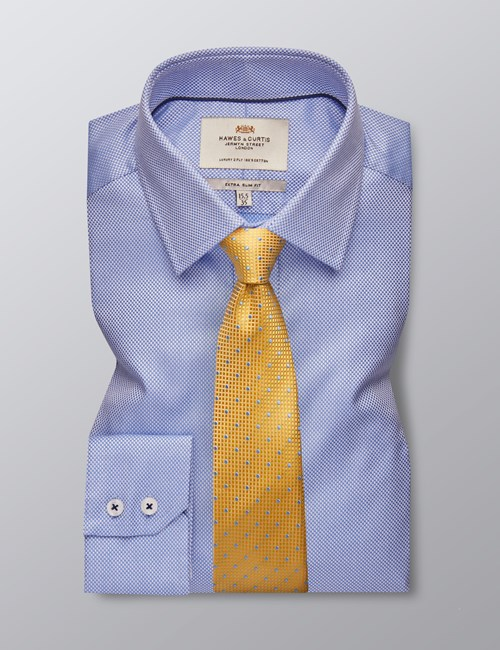 Men's Formal Blue & White Dobby Extra Slim Fit Shirt - Single Cuff - Easy Iron