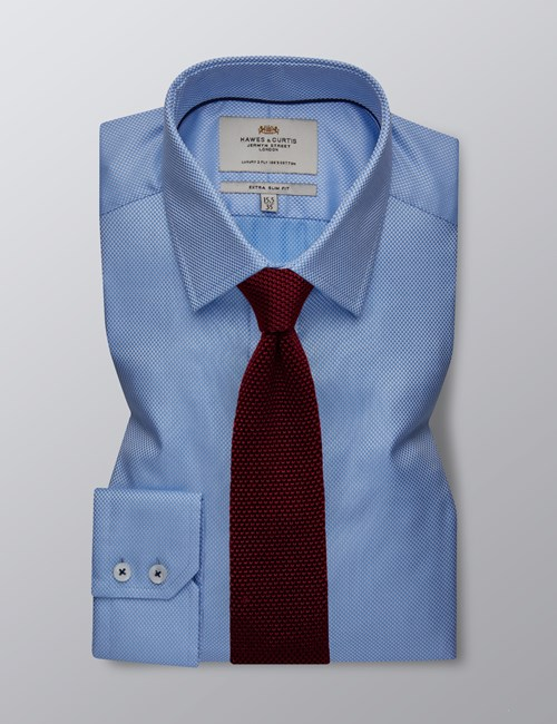 Men's Dress Blue & White Fabric Interest Extra Slim Fit Shirt - Single Cuff - Easy Iron