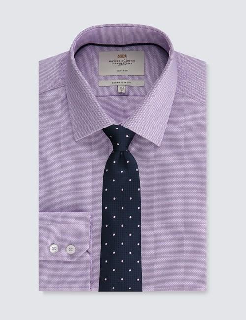 Men's Dress Lilac & White Fabric Interest Extra Slim Fit Shirt - Single Cuff - Non Iron