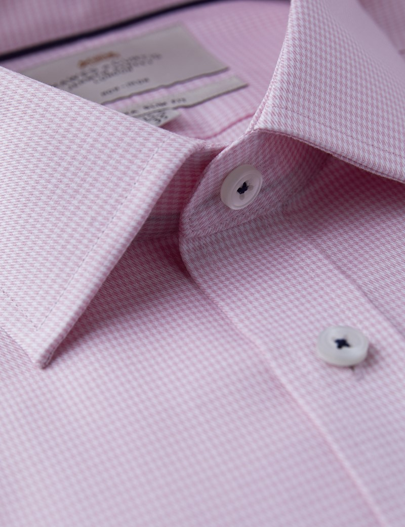 Men's Formal Pink Dogstooth Check Extra Slim Fit Shirt - Single Cuff - Non Iron