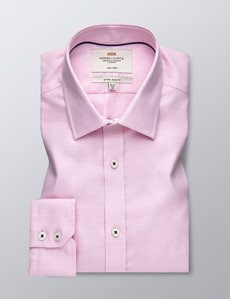 Men's Business Pink Dogstooth Check Extra Slim Fit Shirt - Single Cuff - Non Iron