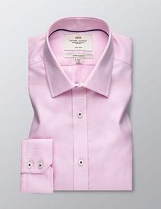 Men's Dress Pink Dogstooth Plaid Extra Slim Fit Shirt - Single Cuff - Non Iron