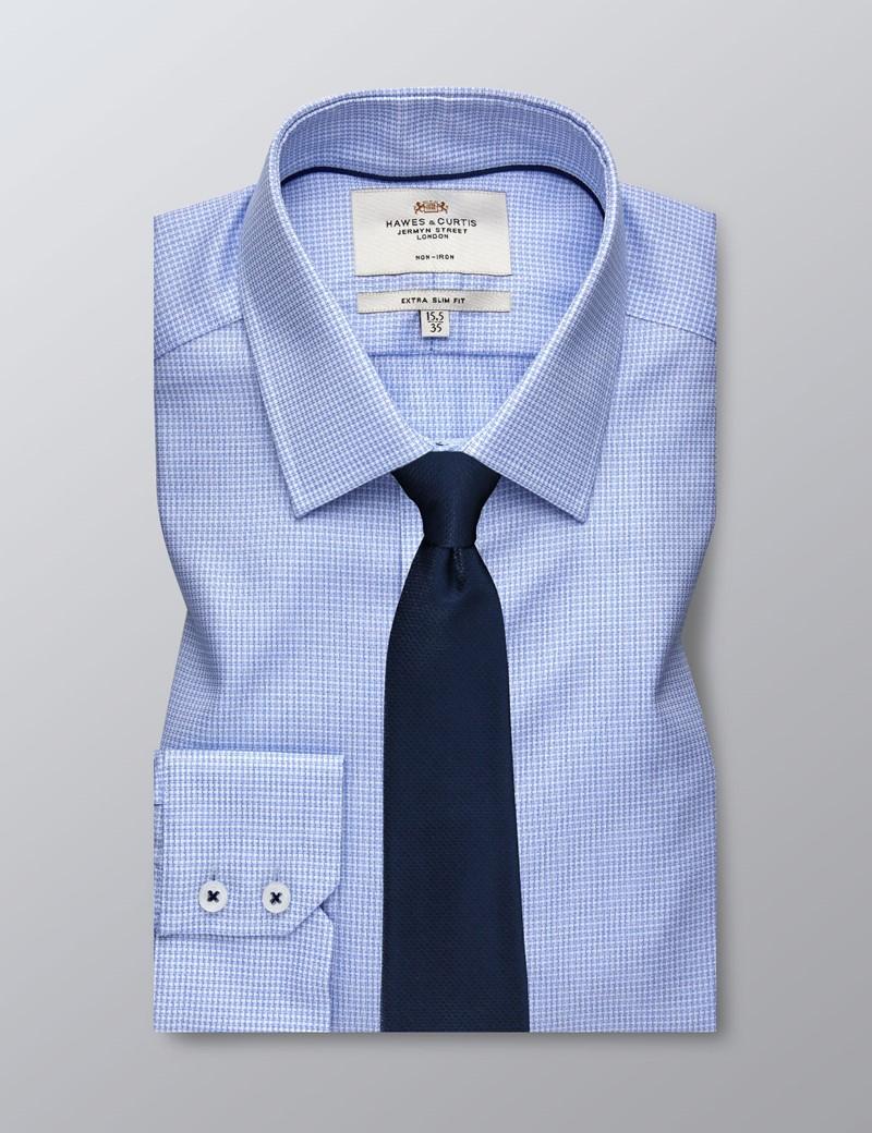 Bügelfreies Businesshemd - Extra Slim Fit - Kentkragen - Texturiert blau & weiß