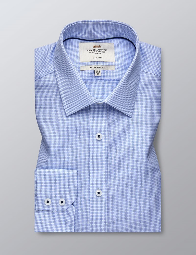 Men's Formal Blue & White Textured Extra Slim Fit Shirt - Single Cuff - Non Iron