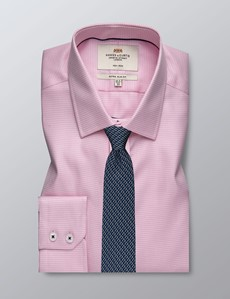 Men's Dress Pink & White Dogstooth Plaid Extra Slim Fit Shirt - Single Cuff - Non Iron