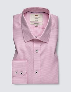 Men's Formal Pink & White Dogstooth Check Extra Slim Fit Shirt - Single Cuff - Non Iron