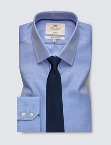 Men's Formal Navy & White Dobby Extra Slim Fit Shirt - Single Cuff - Non Iron