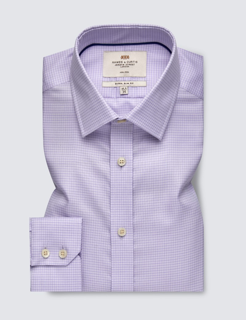 Men's Formal Lilac & White Dobby Extra Slim Fit Shirt - Single Cuff - Non Iron