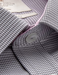 Men's Business Grey & White Dobby Extra Slim Fit Shirt - Single Cuff - Non Iron