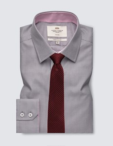 Men's Formal Grey & White Dobby Extra Slim Fit Shirt - Single Cuff - Non Iron