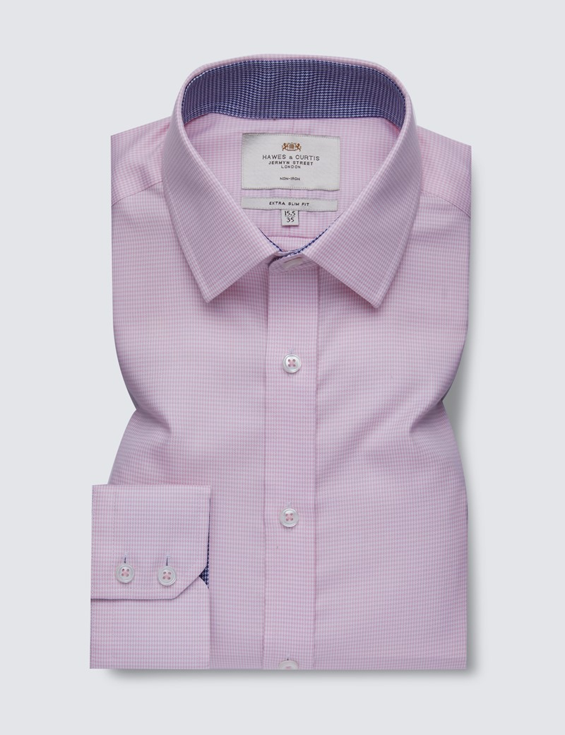 Men's Dress Pink & White Dogstooth Extra Slim Fit Shirt with Contrast Detail - Single Cuff - Non Iron