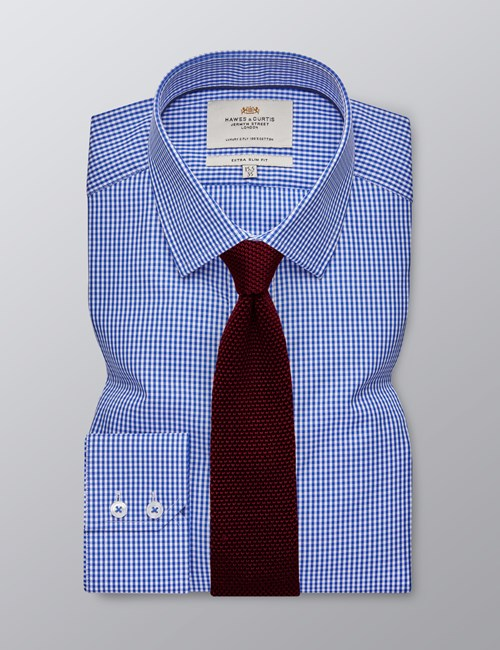 Men's Dress Royal & White Gingham Plaid Extra Slim Fit Shirt - Single Cuff  - Easy Iron