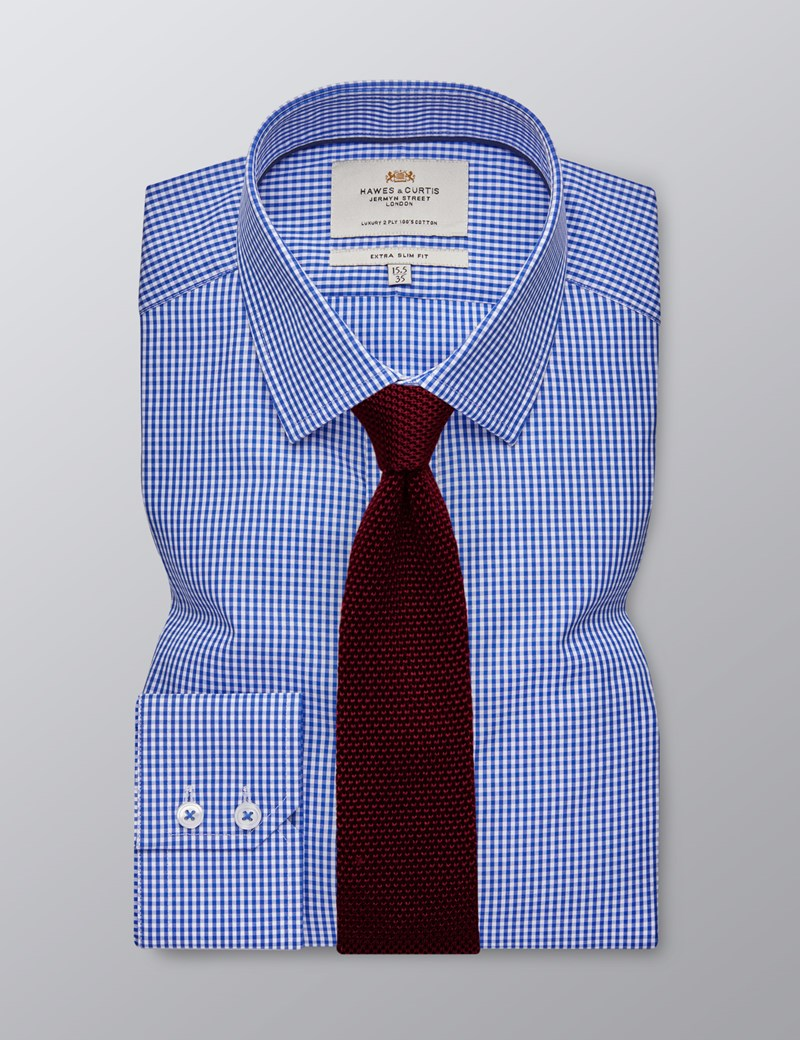 Men's Formal Royal & White Gingham Check Extra Slim Fit Shirt - Single Cuff  - Easy Iron
