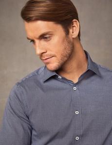 Men's Dress Black & White Print Extra Slim Fit Cotton Stretch Shirt - Single Cuff