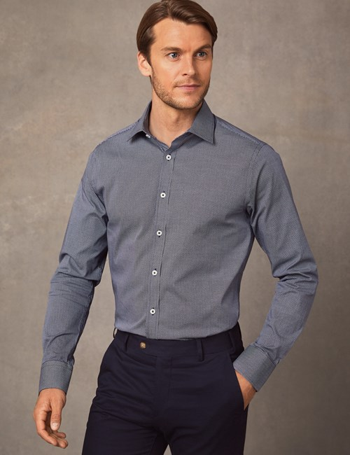 Men's Formal Black & White Print Extra Slim Fit Cotton Stretch Shirt - Single Cuff
