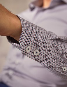 Men's Formal White & Navy Print Extra Slim Fit Cotton Stretch Shirt - Single Cuff
