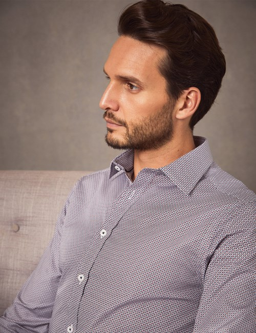 Men's Dress White & Navy Print Extra Slim Fit Cotton Stretch Shirt - Single Cuff