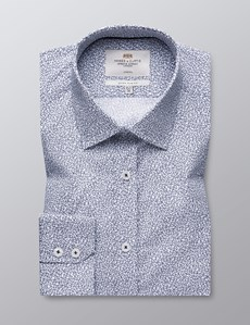 Men's Dress White & Navy Paisley Extra Slim Fit Cotton Stretch Shirt - Single Cuff